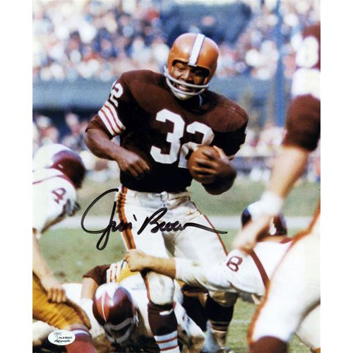 10 Cleveland Browns Jersey - Jim Brown Autographed Cleveland Browns (Brown Jersey) 8x10 Photo