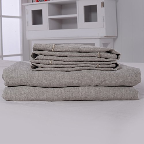 3 Piece Solid 100% Linen Duvet Cover Set (Queen, Linen)
