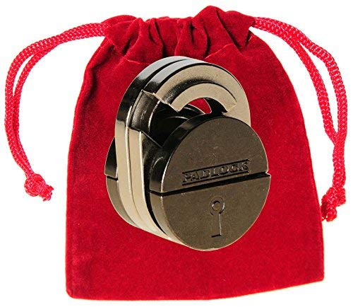 PADLOCK Hanayama Cast Metal Brain Teaser Puzzle _ Level 5 Difficulty Rating _ Bonus Red Velveteen Drawstring Pouch _ Bundled Items by Deluxe Games and Puzzles