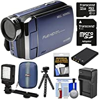 Bell & Howell DV30HD 1080p HD Video Camera Camcorder (Blue) with 32GB Card + Battery & Charger + Case + Tripod + Video Light Kit