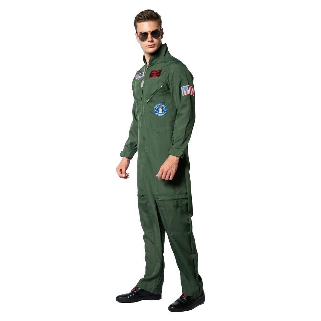ReneeCho Men/'s Flight Suit Halloween Costume Pilot Top 80s Jumpsuit Jacket