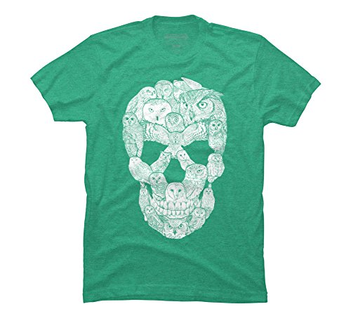 Sketchy Owl Skull Men's 2X-Large Lime Green Heather Graphic T -