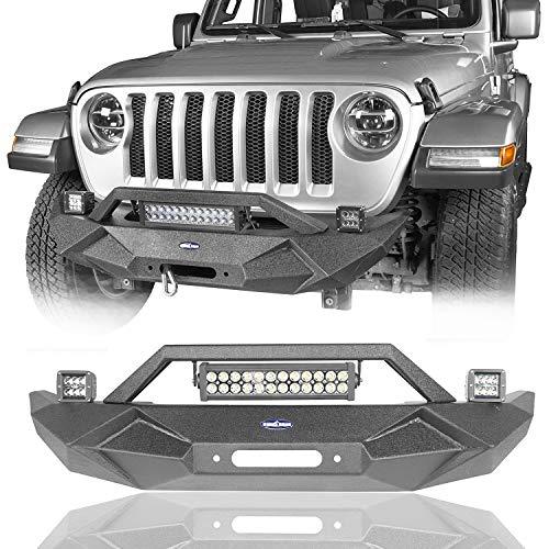 (u-Box Jeep JL 2018 2019 Wrangler Front Bumper w/Winch Plate & 2X 18W LED)