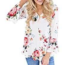 FORUU Trendy Autumn Women Floral Printing Long Flared Sleeve Casual Blouse Tops T-Shirt