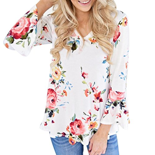 FORUU Trendy Autumn Women Floral Printing Long Flared Sleeve Casual Blouse Tops T-Shirt (2XL, White)