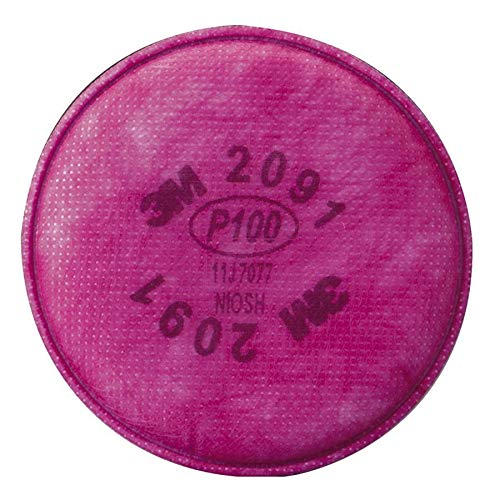 - 3M 2091 6000 Series NIOSH Approved 2091 P100 Respirator Filter, 2/Pack