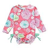 NUWFOR Toddler Baby Girl Kids Swimwear Floral Printed Bikini Swimsuit Beach One Piece (Pink,6-9 Months)