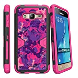TurtleArmor | Samsung Galaxy J3 Case | Amp Prime | Express Prime [Clip Caliber] High Impact Shockproof Silicone Armor Case Kickstand Holster Belt Clip Pink Designs - Pink Purple Flowers