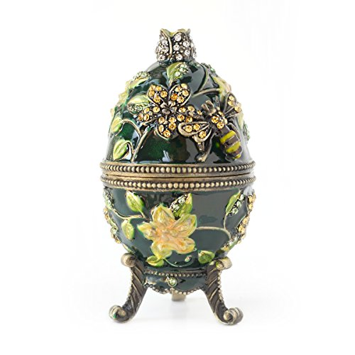 Hand- Painted Vintage Style Bee and Flowers Faberge Egg with Rich Enamel and Sparkling Rhinestones Jewelry Trinket Box (Green)
