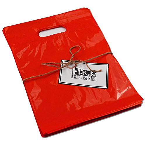 PackStash (50 Qty) 20 x 23 x 5 RED Retail Merchandise Plastic Shopping Bags - (XLarge) Premium Tear-Resistant Film, Double Thick Handles, Vibrant Glossy Finish