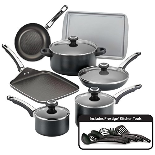 Farberware High Performance Nonstick Aluminum 17-Piece Cookware Set, Black (Renewed)