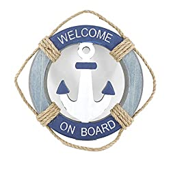Wooden Nautical Life Ring Wall and Door Hanging Ornament Plaque,Welcome On Board,11.6x8 Welcome Sign (Antique Anchor)