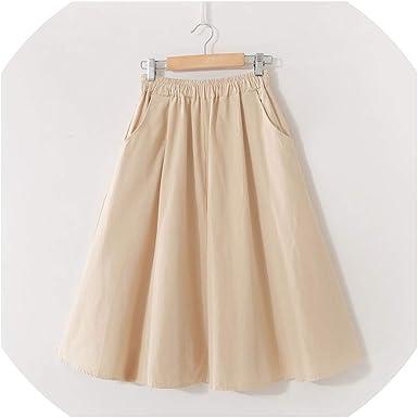 Heat-Tracing Falda de algodón con Cintura elástica y Bolsillos ...