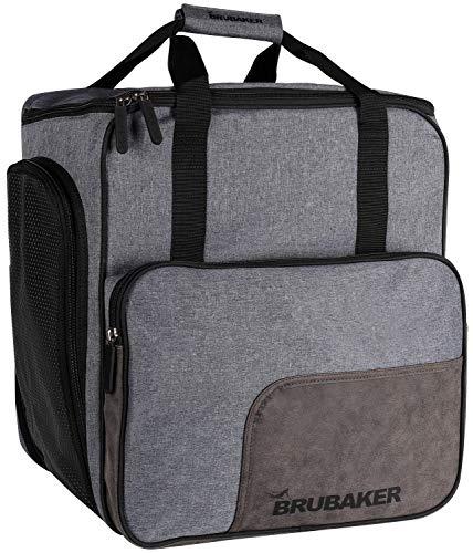 BRUBAKER Super Performance Ski Boot Bag Helmet Bag Backpack with Shoe Compartment - Grey -