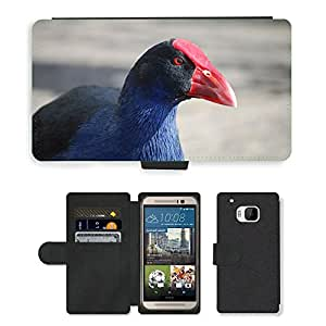 Hot Style Cell Phone Card Slot PU Leather Wallet Case // M00108937 Moorhen Bird Purple Swamphen Wild // HTC One M9