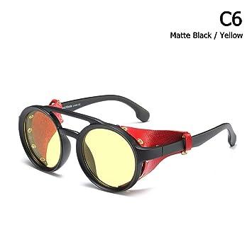 BUYAOAQ Gafas Redondas De Cuero con Protección Lateral Gafas ...