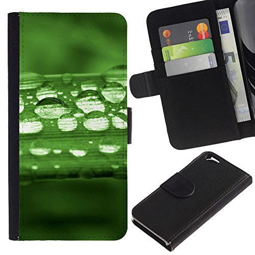 LeCase - Apple Iphone 6 4.7 - Green Water Drop Leaf 1 - Cuir PU Portefeuille Coverture Shell Armure Coque Coq Cas Etui Housse Case Cover Wallet Credit Card