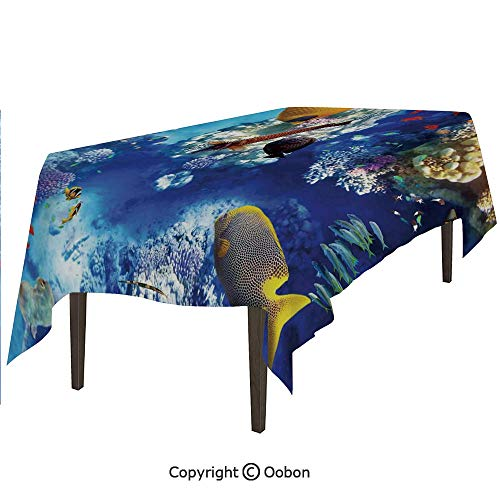- oobon Space Decorations Tablecloth, Wild Underwater Sea Animal Aqua World Corals Tropical Fishes and Stingray, Rectangular Table Cover for Dining Room Kitchen, W60xL84 inch