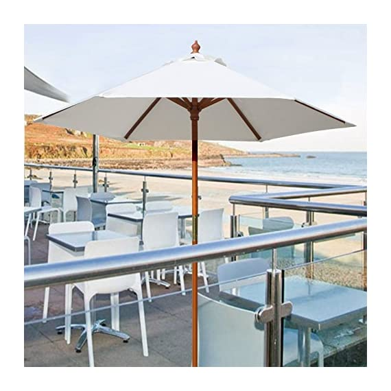 "Above All Advertising, Inc. 7 ft Round Wood Market Umbrella Outdoor Patio Garden Table Umbrella, White - Pole Height : 86"" (7.16 Feet), Canopy Diameter: 84"", Rib Size: 42"", Rib to Rib Spacing Size: 39"", Pole Color: Brown, Opening System: Pulley Pole 6 Umbrella Panels with the total length of 39"" rib to rib when set-up Round Umbrella with extra crown wind vent, which allows gusts of wind to escape - shades-parasols, patio-furniture, patio - 51Q 5SpY2rL. SS570  -"