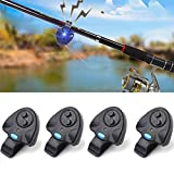 #5: SZMWL 4 x Electronic LED Light Fishing Bite Sound Alarm Alert Bell Clip On Fishing Rod