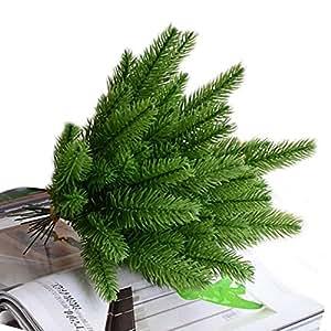 taloyer 10pcs Artificial flor ramas de pino árbol de Navidad Artificial Plantas Adornos simulación fotografía Props