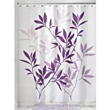 InterDesign Leaves Fabric Shower Curtain 72 x 72, Purple
