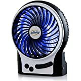 Efluky Mini USB 3 Speeds Rechargeable Portable Table Fan, 4.5-Inch, Black
