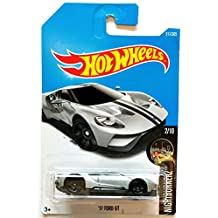 Hot Wheels 2017 '17 Ford GT Night Burnerz Silver 211/365, Long Card by Mattel