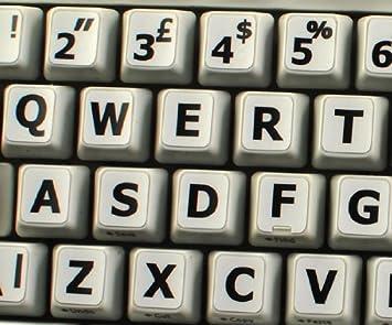 Qwerty Keys Inglés Reino Unido Grandes Letras (mayúsculas) Pegatinas de Teclado no Transparentes de Color Blanco con Letras Negras Letras - Apto para ...