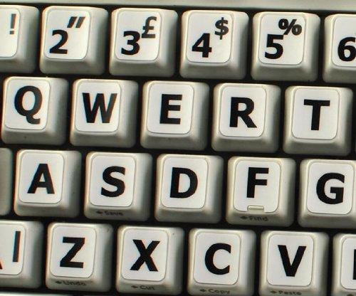 2 opinioni per Inglese UK Adesivi grandi lettere ( maiuscole ) Tastiera bianco con lettere