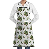Z-YY Potted Plant Cactus Unisex Kitchen Apron With Pockets Adjustable Chef Aproms