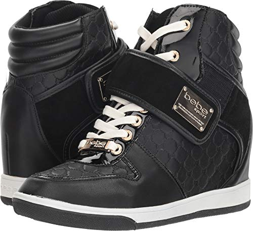 bebe Womens Colby Hight Top Lace Up Fashion Sneakers, Black Fx, Size 7.0