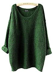 Arjosa Women S Fashion Oversized Knitted Crewneck Casual Pullovers Sweater 2 Green