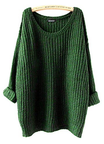 ARJOSA Women's Fashion Oversized Knitted Crewneck Casual Pullovers Sweater (#2 Green)