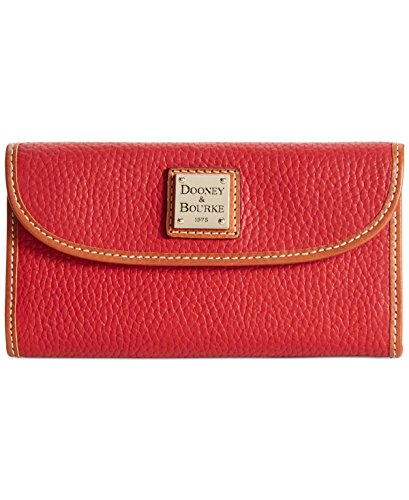 - Dooney & Bourke Pebble Grain Continental Clutch Leather Red