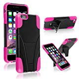 iPhone 6/6s Plus Case, Insten T-Stand Cover Case compatible with Apple iPhone 6 Plus (5.5), Black/Hot Pink
