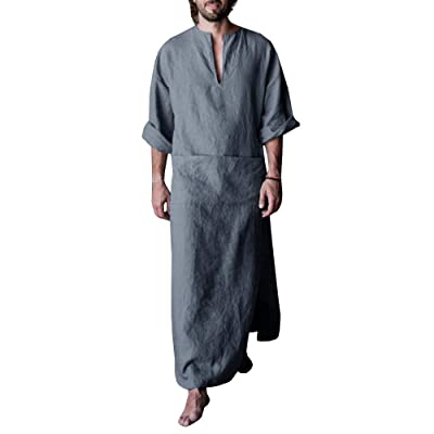 Makkrom Mens Henley Robes Roll-up Sleeve Casual Kaftan Solid Ankle Length Thobe Ultra Long Gown Kangaro Pocket at Men's Clothing store