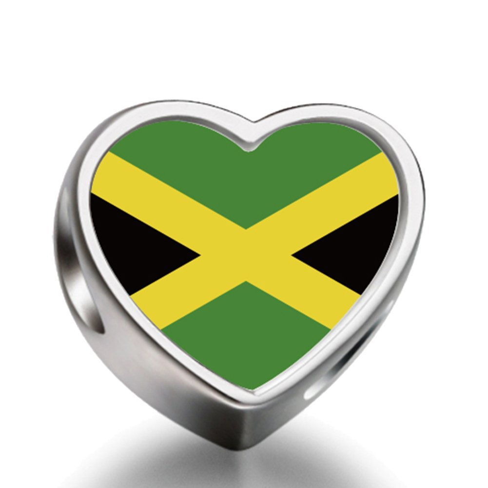 Amazon com jamaica flag heart charms bracelet necklace beads waist beads 6mm hole craft metal beads floating charms for women arts crafts sewing