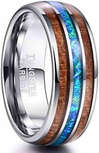 2c2d6eac901 VAKKI 8mm Hawaiian Koa Wood and Abalone Shell Imitated Opal Tungsten  Carbide Rings Wedding Bands