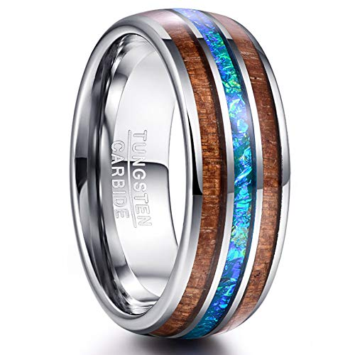 VAKKI Koa Wood and Blue Imitated Opal Inlay Promise Ring 8mm Domed Tungsten Wedding Engagement Band Size 10