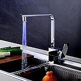 FeN Kitchen Taps,European Style Sink Swivel Faucet,Quartet LED Creative Fashion Mixer,Single Handle One Hole Chrome Tap