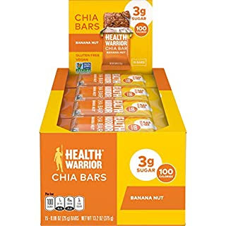 HEALTH WARRIOR Chia Bars, Banana Nut, Gluten Free, Vegan, 25g bars, 15 Count