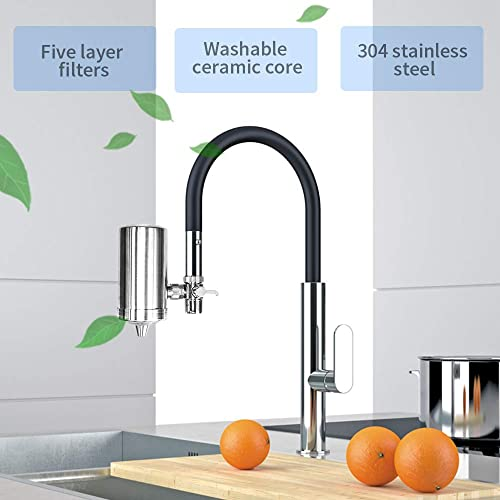 Kowela Faucet Mount Water Filter, SUS304 Stainless Steel Reduce Chlorine,Lead,BPA Free, Water Purifier with 7-Layer UF ACF Filtration System, Fits Standard Faucets with 1 Filter Cartridge