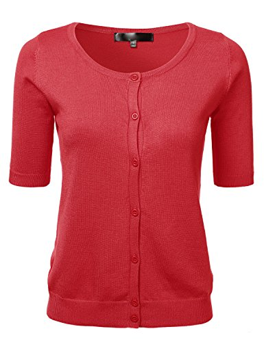 Womens Button Down Fitted Short Sleeve Fine Knit Top Cardigan Sweater RED S