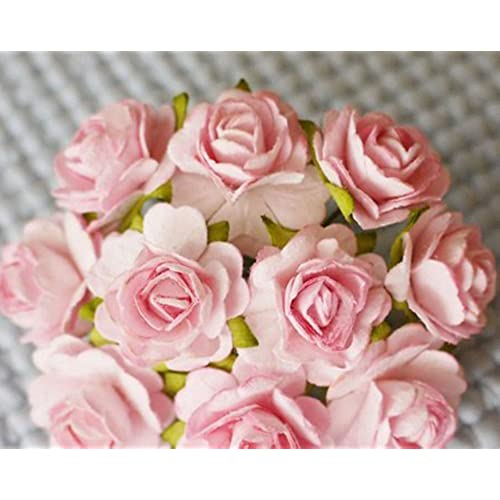 Paper flowers amazon 100 pcs hight quality pink color 002 mulberry paper flowers of wedding roses 20mm mightylinksfo