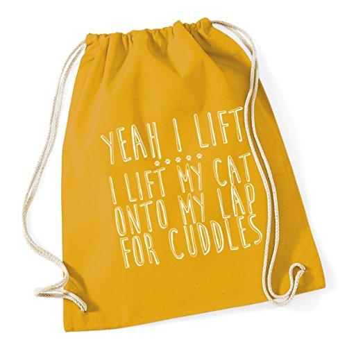 my 46cm lift lift Mustard cat litres lap Yeah 12 Gym cuddles Drawstring for Sack Cotton HippoWarehouse I onto Bag School 37cm x I my Kid w1InEnqX