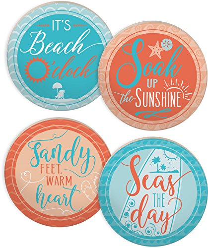 Angelstar 13428 Beach/Coastal Assorted Round Absorbent Coasters (Set of 4), 4