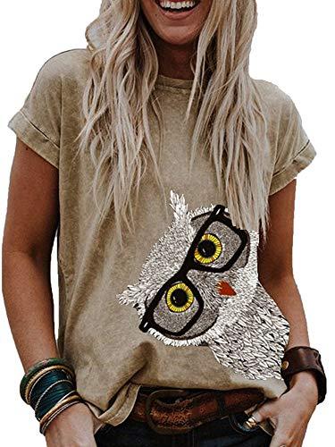 Dames Meisjes Uil Print Sweet T-Shirt Grafische Print Leuke T-Shirts Ronde hals T-shirt met korte mouwen