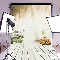 MOHOO 5x7ft Cotton Polyester Bear Ballon Wooden Floor Children Photography Backdrop Collapsible Washable Background Photo Studio Props (Updated Material)1.6mx2.1m