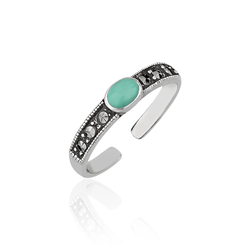 Chuvora 925 Sterling Silver Frames Round Reconstructed Blue-green Turquoise Marcasite Band Gemstone Toe Ring